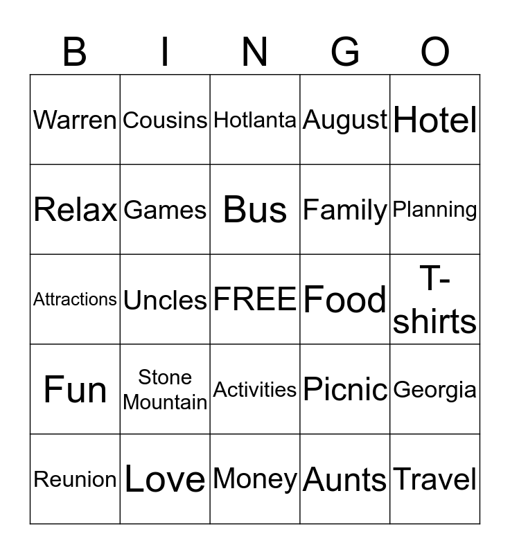 Warren Family Reunion Bingo Card
