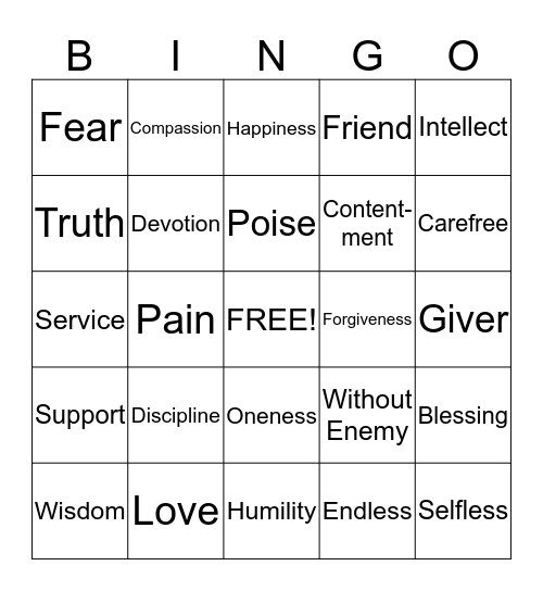 Japji Bingo Card