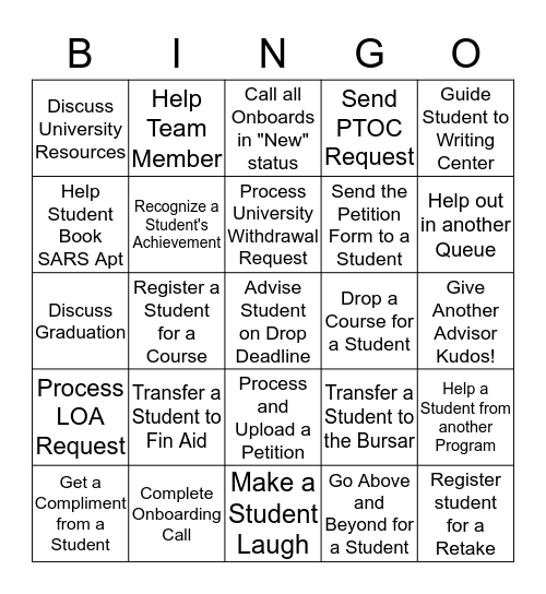 TERM START BINGO!  Bingo Card