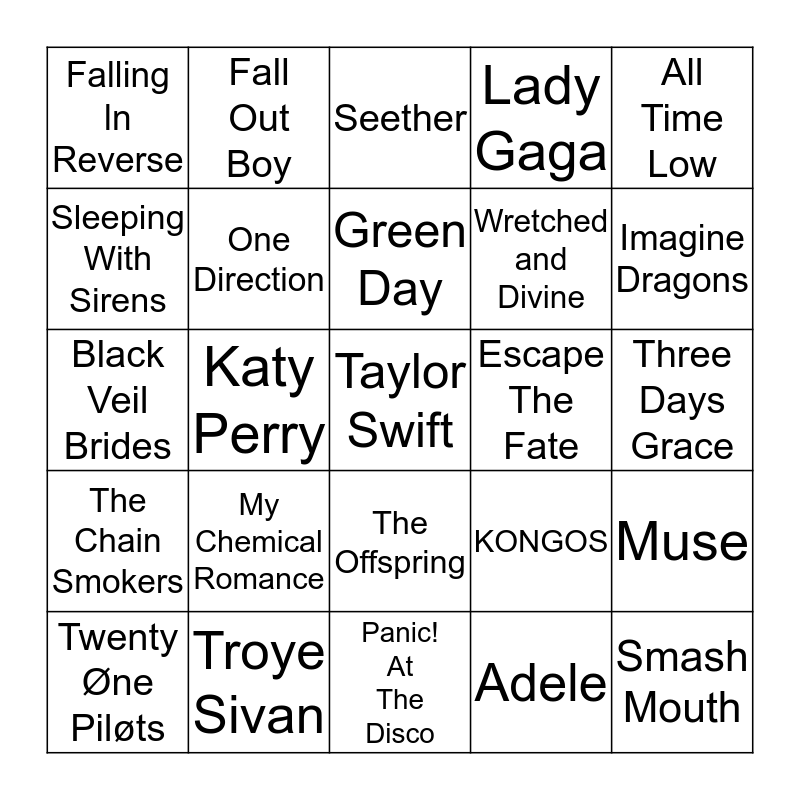 Favorite Bands Bingo Card