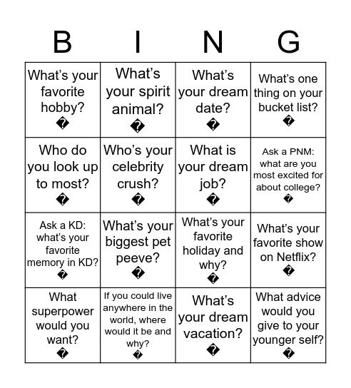 Kappa Delta Bingo Card