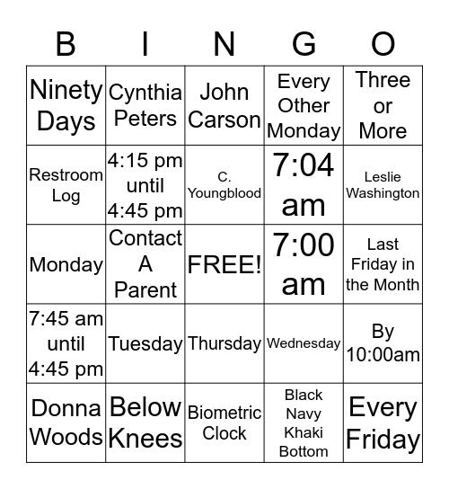 Nova Academy Schools Policy and Procedures  Bingo Card