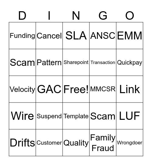 Dawson's Destroyers Dingo Bingo Card