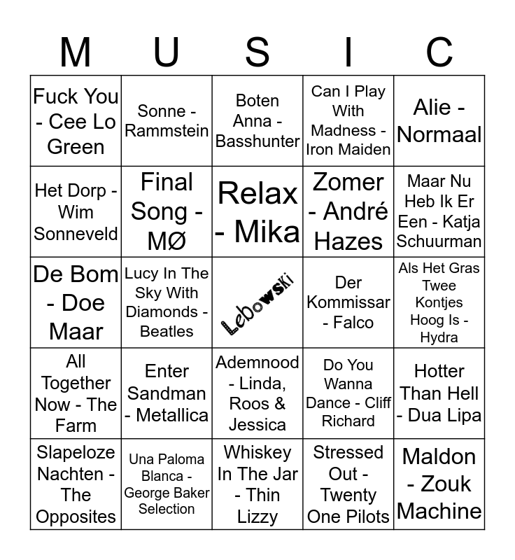 203 Bingo Card