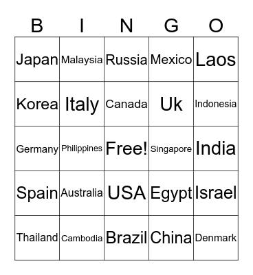 Countries Bingo Card