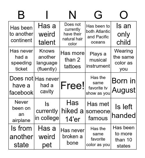 RRYA Bingo Card