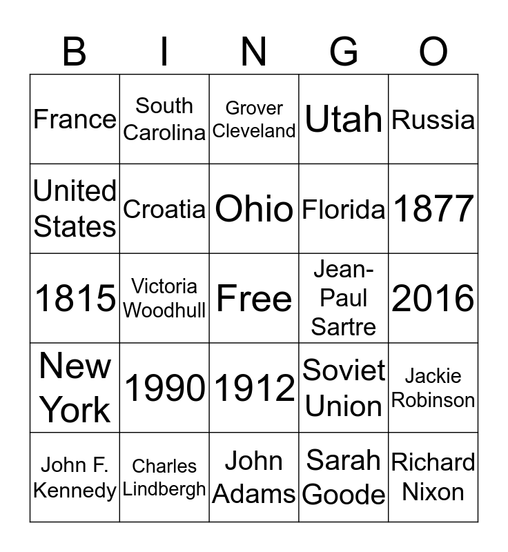 Pie for the People: Card 5 Bingo Card
