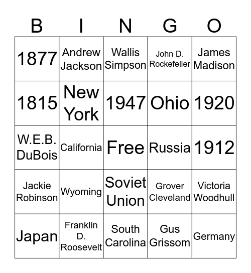 Pie for the People: Card 10 Bingo Card