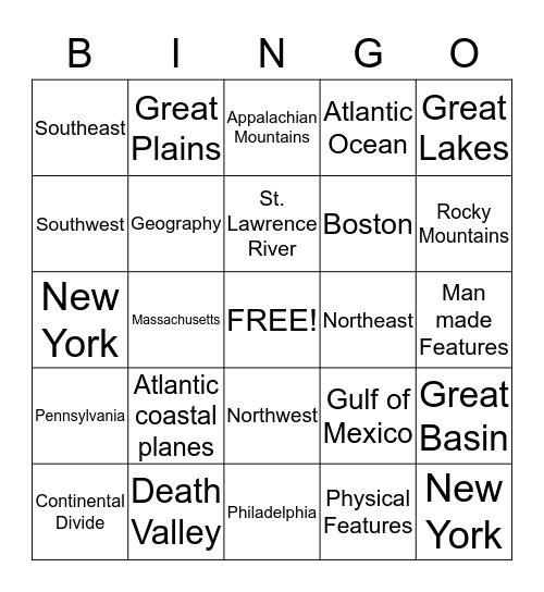 Peacock's 4th grade Geography Bingo Card