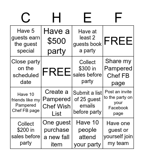 The Pampered Chef  Bingo Card