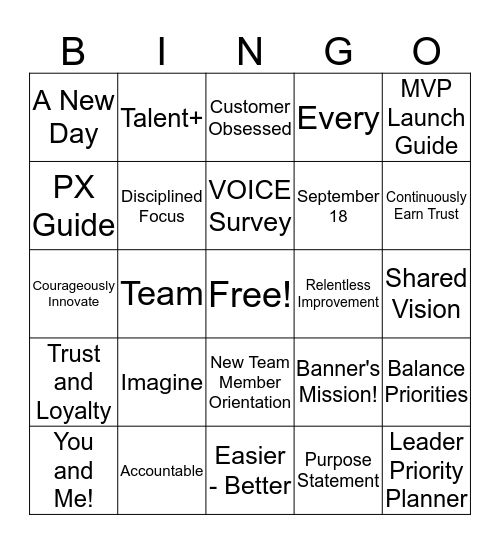 MVP Bingo Card