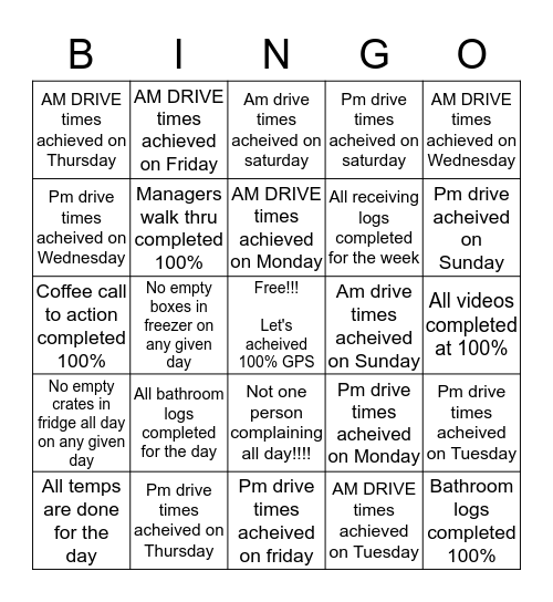 Let's get over 100% on our GPS!!! Bingo Card