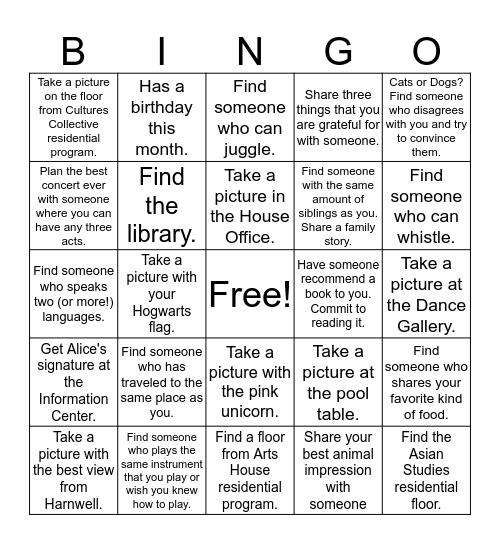HARNWELL BINGO! Bingo Card