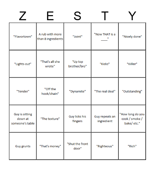 Diners, Drive-ins, and Dives Bingo Card
