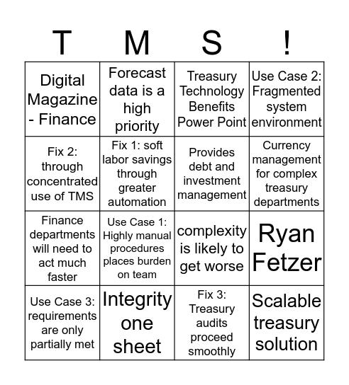 Integrity Bingo Card