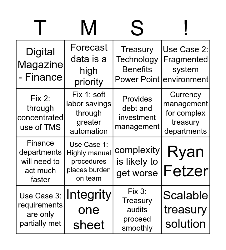 Integrity Bingo Card