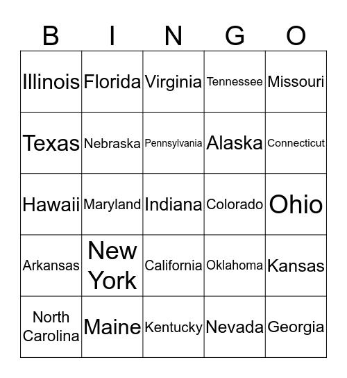 States Bingo!!! Bingo Card