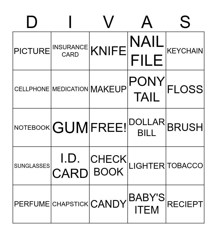PURSE BING  Bingo Card