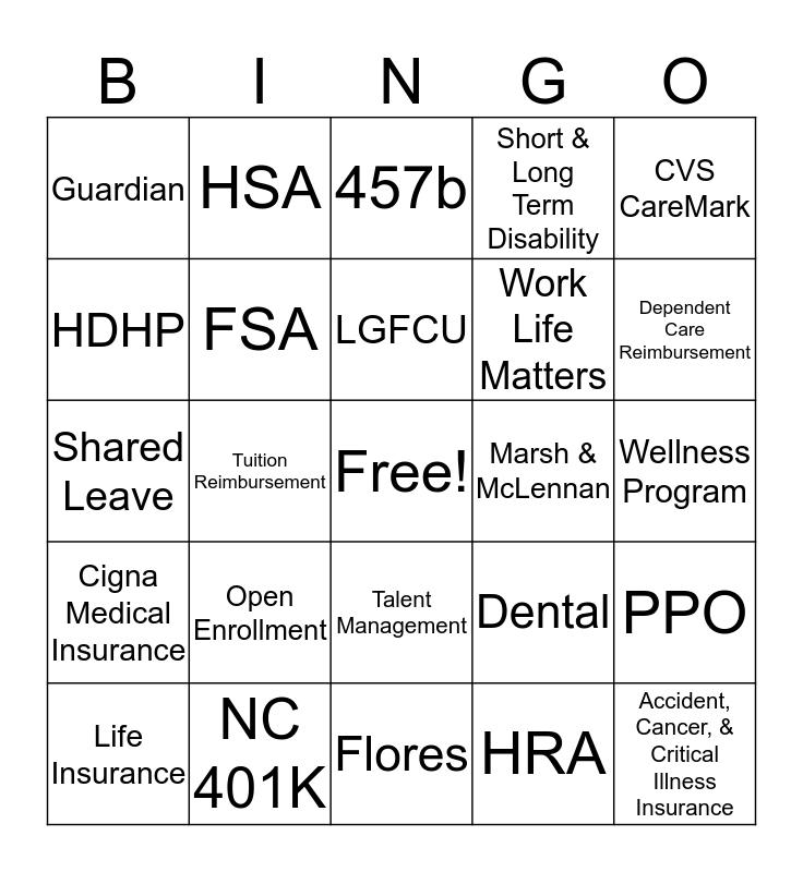 RDU Employee Benefits Fair Bingo Card