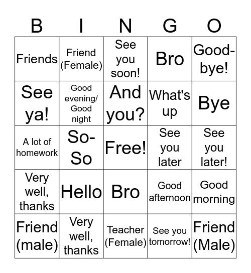Greetings ! Bingo Card
