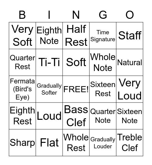 Music Notation Bingo Card