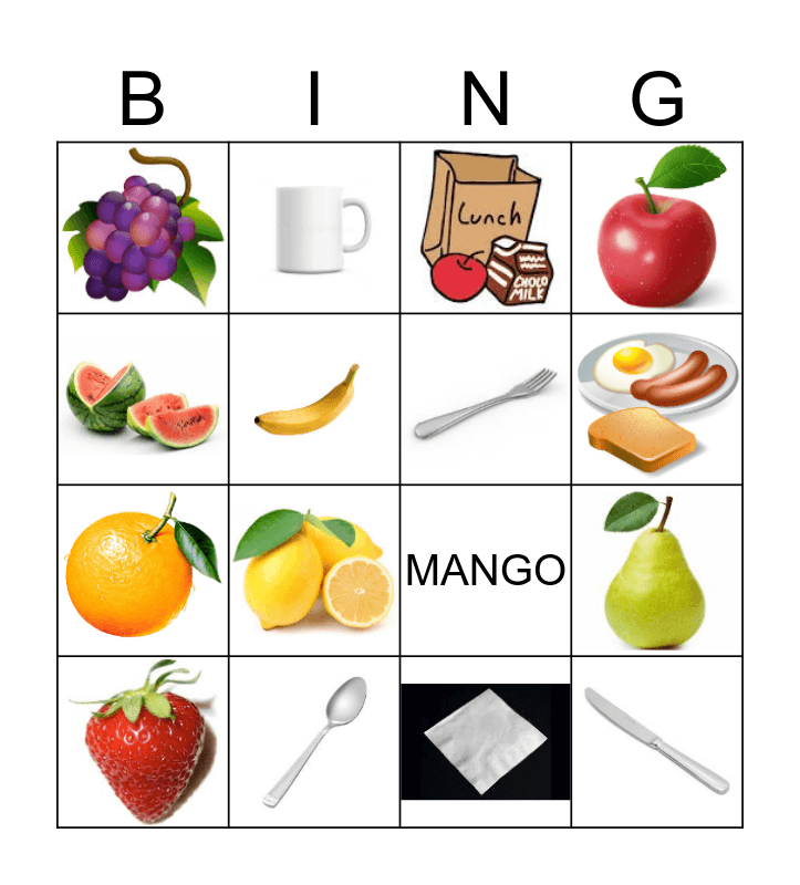 Fruit and Utensils Bingo Card