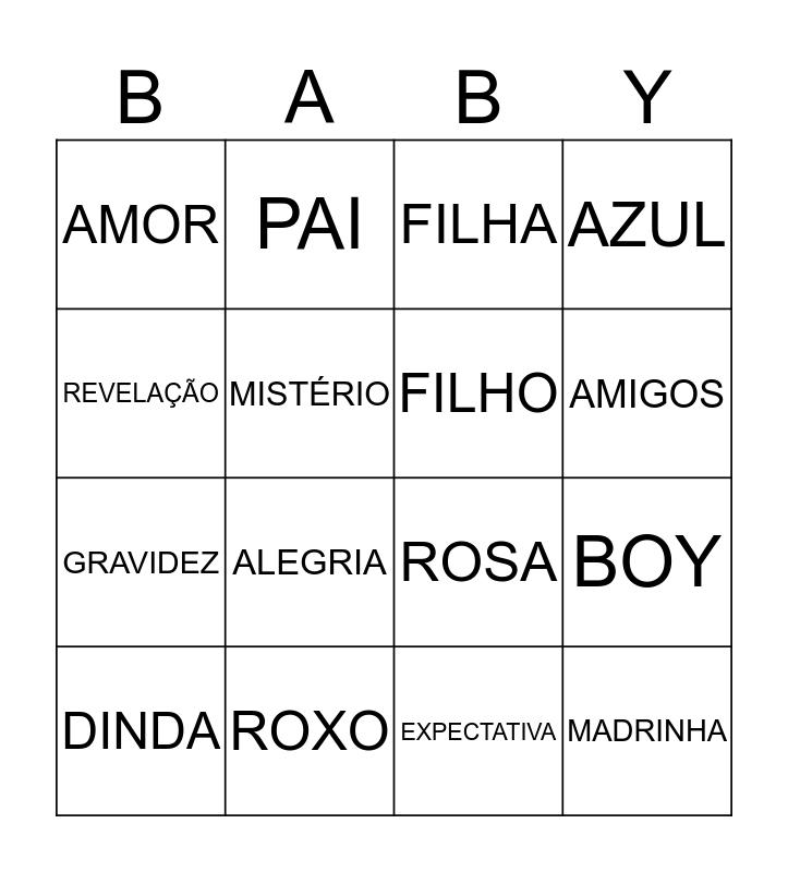 BINGO REVELAÇÃO Bingo Card