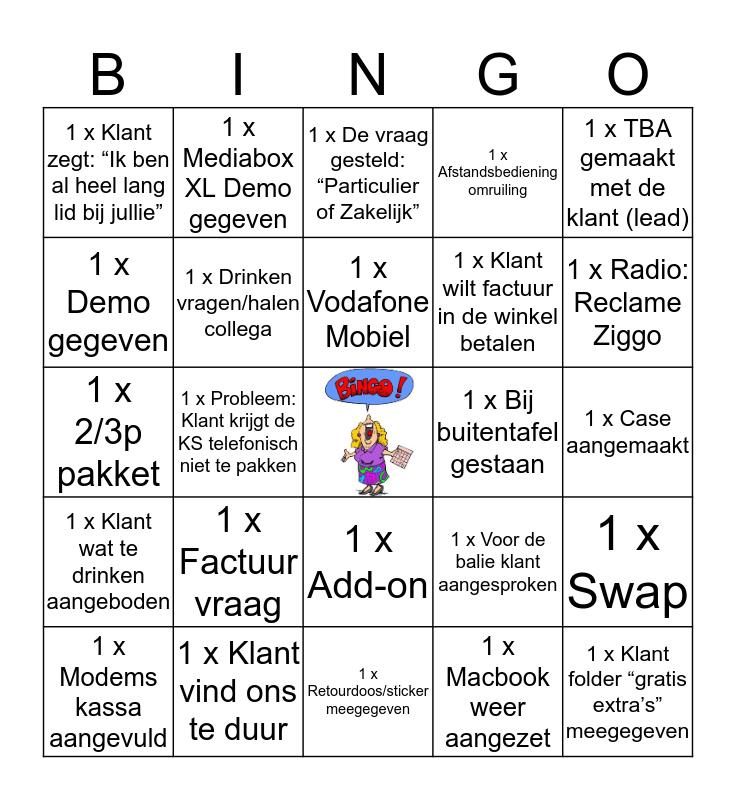Bingo bij de Ziggoot Bingo Card