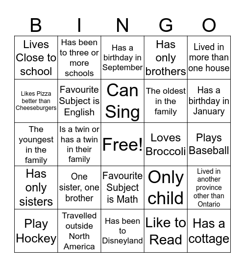 Getting to Know Each Other Bingo Card