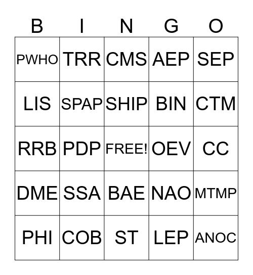 Acronym Bingo Card