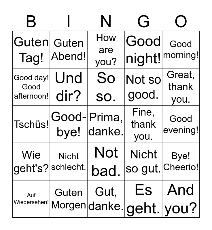 Lesson 2 Bingo Card