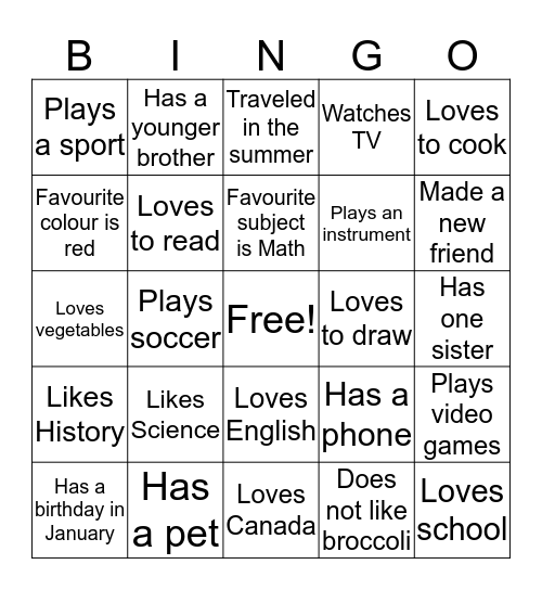About Our Class Bingo Card