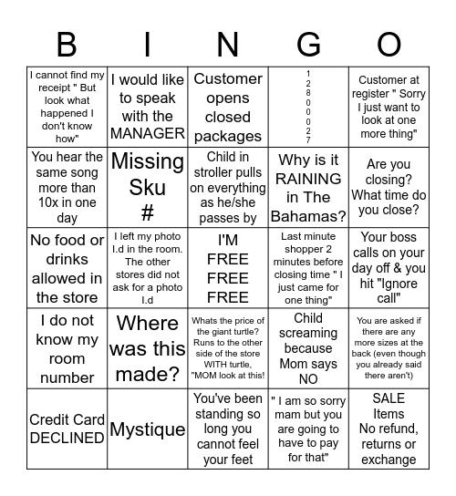 Retail Bingo Card