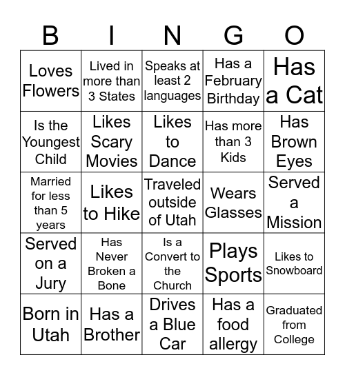 GET TO KNOW YOU!!! Bingo Card