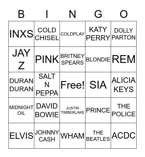 MUSIC TRIVIA BINGO Card