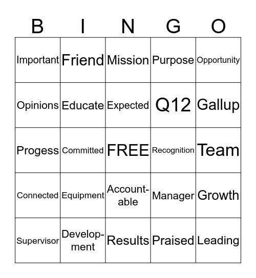 Core Engagement Bingo Card
