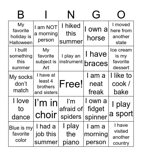 Who are you anyway? Bingo Card