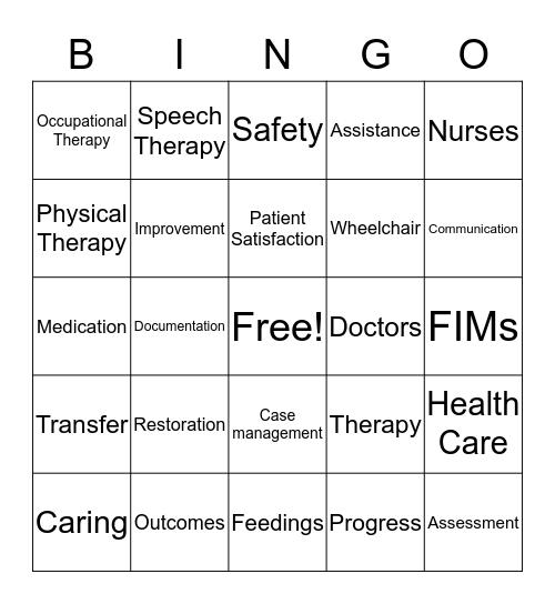REHAB Bingo Card