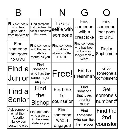 Get to know the ward  Bingo Card