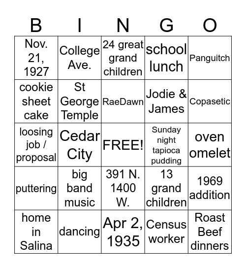 60th Anniversary for Gordon and RaeDawn  Bingo Card