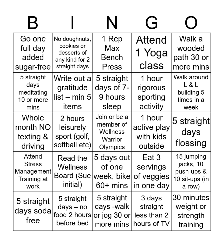 L & L Wellness Bingo  Bingo Card