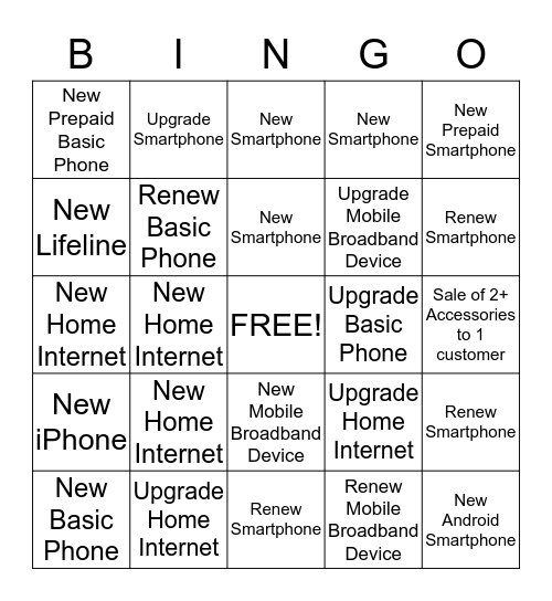 Get 5 in a Row to Win! Bingo Card