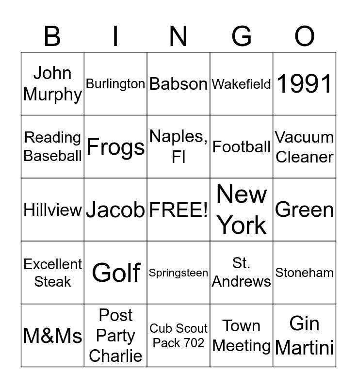Happy Birthday Charlie Bingo Card