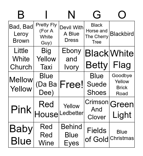 Songs with Colors Bingo Card