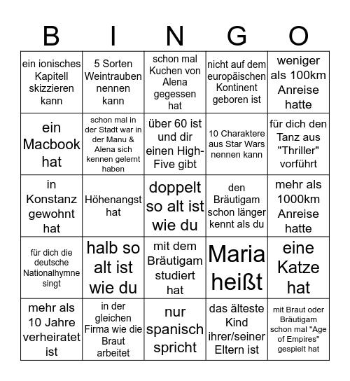 Alena und Manu's Gäste-Bingo Card