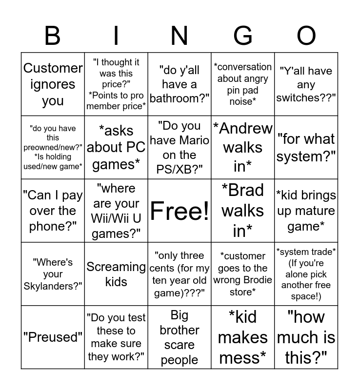 Welcome to GameStop Bingo Card