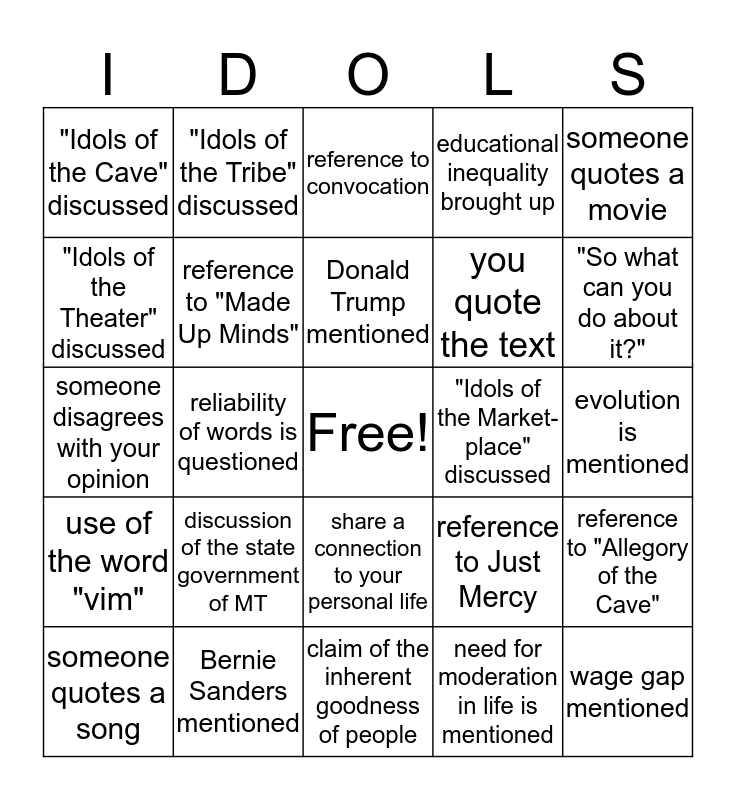 """Idols of the Mind"" Bingo Card"