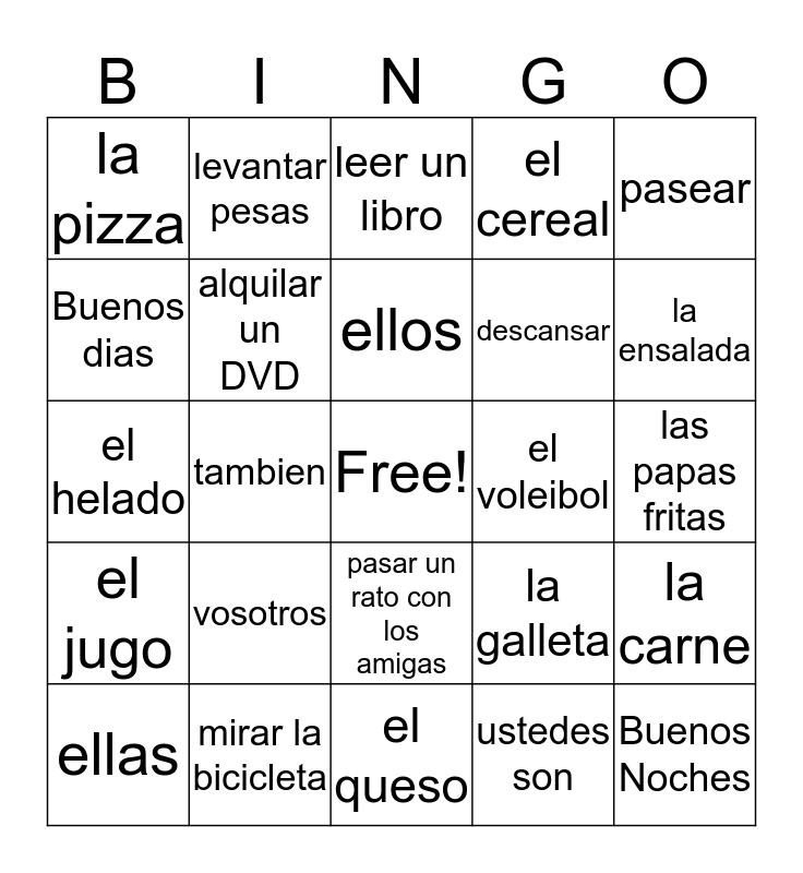7th grade Spanish Bingo Card