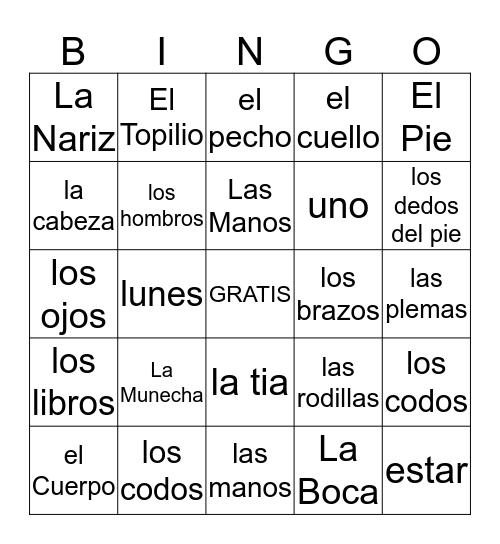 SPAINISH BINGO                           7Alphas         by Sarah Boulineau Bingo Card