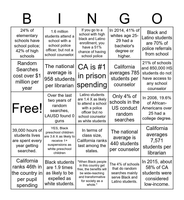 STUDENTS DESERVE BINGO! Bingo Card